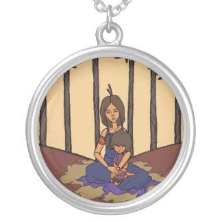 A animação pequena 1 do sonhador - mãe & criança colar com pendente redondo