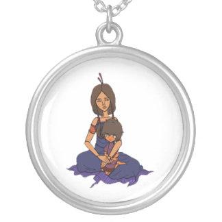 A animação pequena 1 do sonhador - mãe e criança colar com pendente redondo