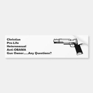 A anti arma cristã de Obama endireita o autocolant Adesivo Para Carro