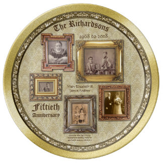 A antiguidade do aniversário de casamento dourado prato de porcelana