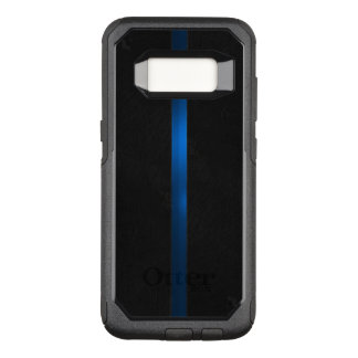 A aparência de madeira preta dilui Blue Line Capa OtterBox Commuter Para Samsung Galaxy S8