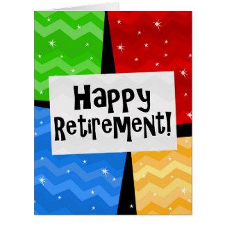 A aposentadoria feliz, cor preliminar esquadra o cartão comemorativo grande