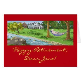 A aposentadoria feliz personaliza (a senhora no cartão comemorativo
