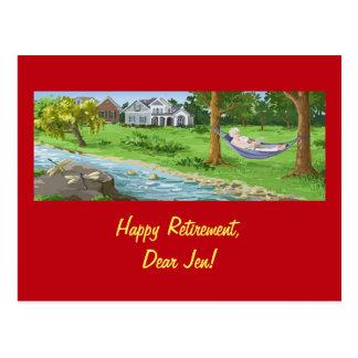 A aposentadoria feliz personaliza (a senhora no cartão postal
