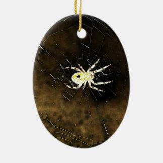 A aranha assustador grande nele é Web Ornamento De Cerâmica