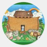 A arca de Noah com arco-íris Adesivos Em Formato Redondos