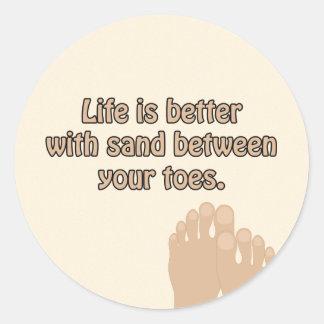 A areia da praia Toes a etiqueta
