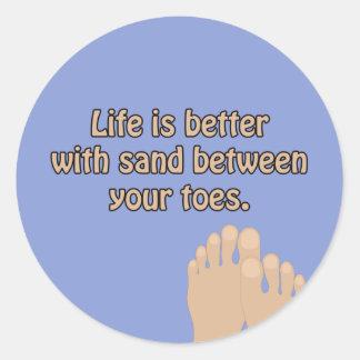A areia da praia Toes a etiqueta do azul de oceano
