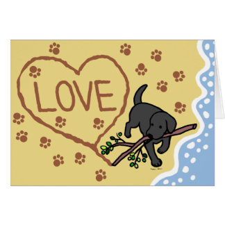 A areia preta de Labrador rotula cartões