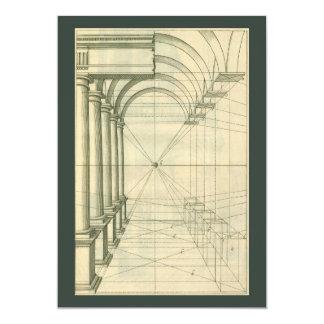 A arquitetura do vintage arqueia o convite da