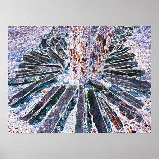A arte abstracta imprime Brown azul decorativo Dec Impressão