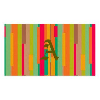 A arte abstracta listrada dos anos 70 retros na cartão de visita