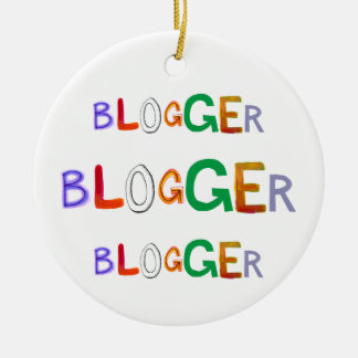 A arte colorida do divertimento do Blogger exprime Ornamento De Cerâmica Redondo