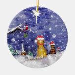 A arte da aguarela do Natal dos animais mesmo Enfeites Para Arvore De Natal