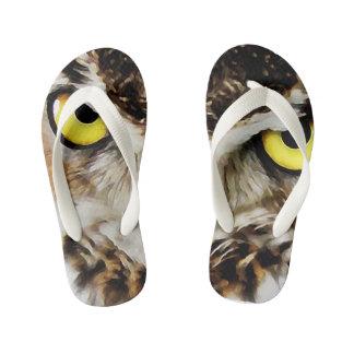 A arte da coruja caçoa chinelos
