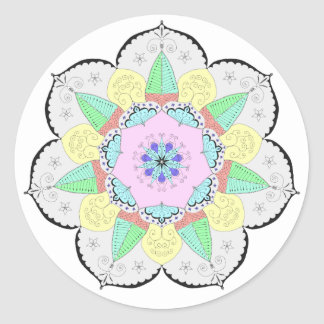 A arte da mandala modela a etiqueta floral da ioga