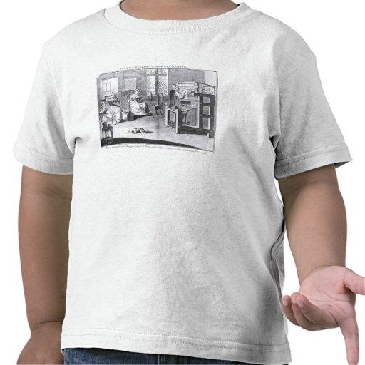 A arte da Meia-Quadro-Trabalho-Confecção de malhas Camiseta