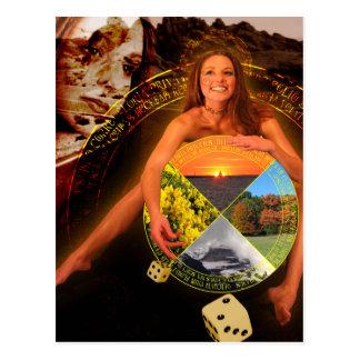 A arte do cartão de Tarot da roda da fortuna Cartão Postal