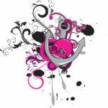 a arte gótico cor-de-rosa do vetor do crânio e da  fotoescultura