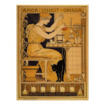 A arte Nouveau do vintage, amor conquista todo o Poster