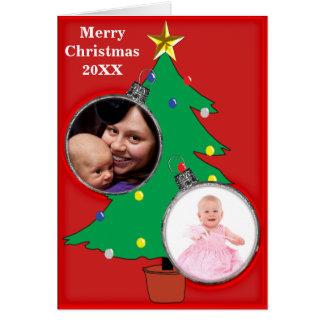 A árvore de Natal dois Ornament o cartão dos