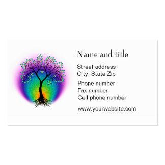 A árvore do arco-íris de vida conecta com seu clie modelos cartão de visita