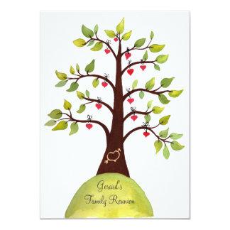 A árvore do coração da aguarela da reunião de convite personalizado