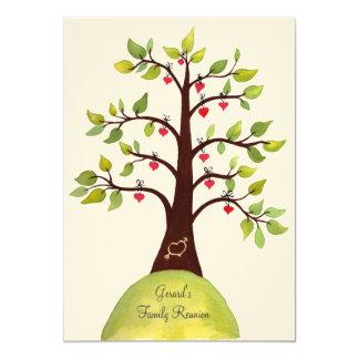 a árvore do coração da aguarela da reunião de convites personalizados