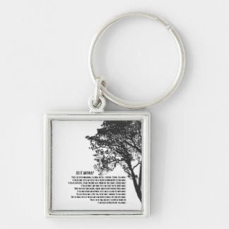 A árvore preto e branco fá-lo de qualquer maneira chaveiro quadrado na cor prata