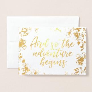 A aventura começa o cartão da folha de ouro de |