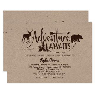 A aventura espera o convite do chá de fraldas da