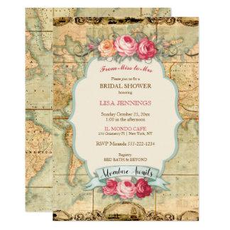 A aventura espera rosas do mapa do mundo do convite 12.7 x 17.78cm