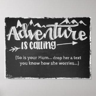 A aventura está chamando, é assim seu poster da