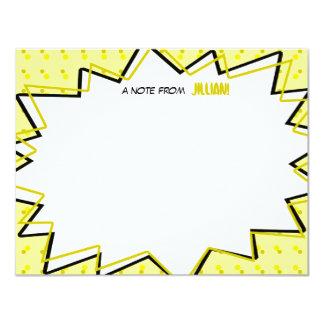 A banda desenhada amarela do pop art inspirou convite 10.79 x 13.97cm