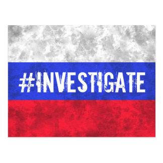 A bandeira do russo investiga o cartão do trunfo