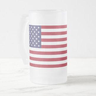 A bandeira dos EUA geou a caneca do vidro de fosco