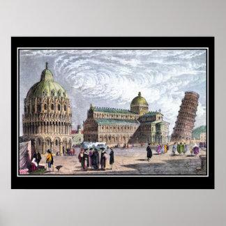 A basílica de Pisa e eleva-se o poster vintage 183