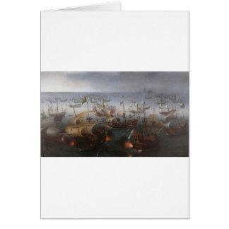 A batalha com a armada espanhola por Hendrick Cartão Comemorativo