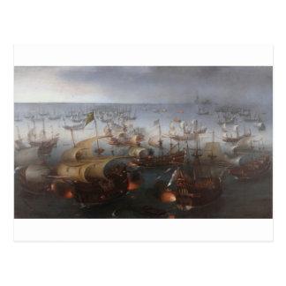 A batalha com a armada espanhola por Hendrick Cartão Postal