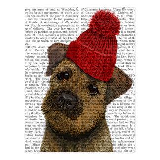 A beira Terrier com vermelho Bobble o chapéu 3 Cartão Postal
