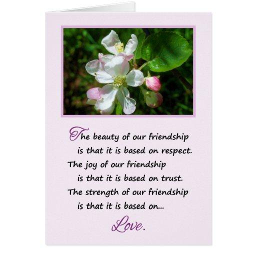 A beleza de nossa amizade… cartao