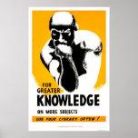 A biblioteca é conhecimento WPA 1940 Posteres
