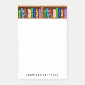 A biblioteca registra o escritor do professor de bloquinhos de notas