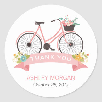 A bicicleta floral bonito cora obrigado adesivo