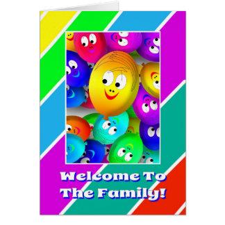A boa vinda bonito à família Balloons o cartão