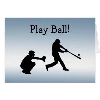 A bola azul do jogo de basebol ostenta o cartão