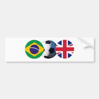 A bola de futebol Reino Unido & Brasil embandeira  Adesivos
