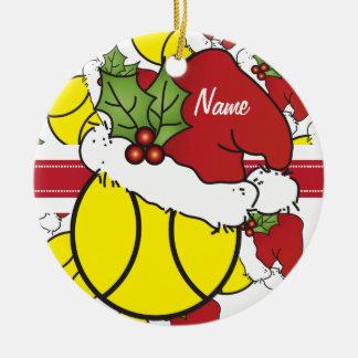 A bola de tênis   do Natal personaliza Ornamento De Cerâmica