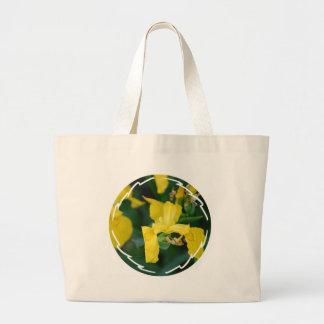 A bolsa de canvas da íris amarela