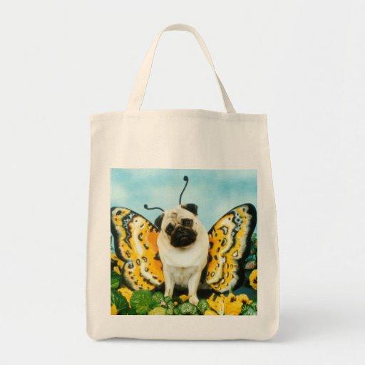 A bolsa de compra do Pug da borboleta